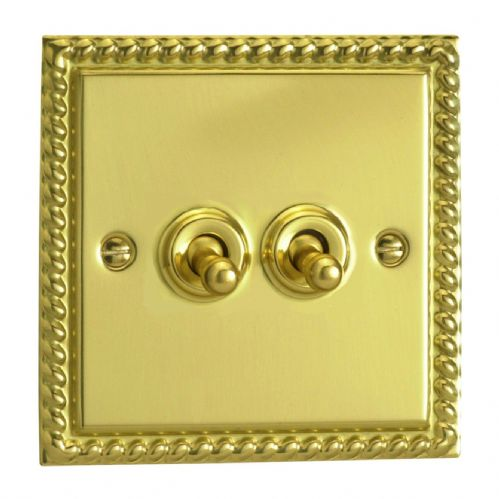 Varilight XGT2 Georgian Polished Brass 2 Gang 10A 1 or 2 Way Toggle Light Switch